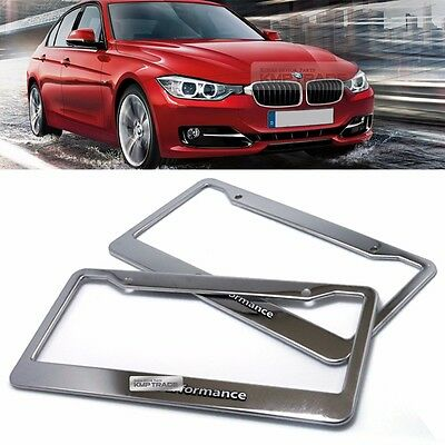 License Plate Stainless Chrome Frame M Performance Hairline Emblem 2P for BMW
