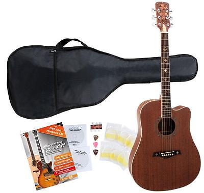 Acoustic Folk Blues Guitar Dreadnought Cutaway 20 Frets Bag Strings Picks Set