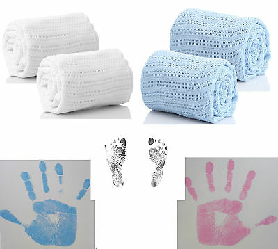 BABY BLANKET And OR INKLESS HAND & FOOT PRINT KIT BABY NEWBORN SAFE IDEAL GIFT!