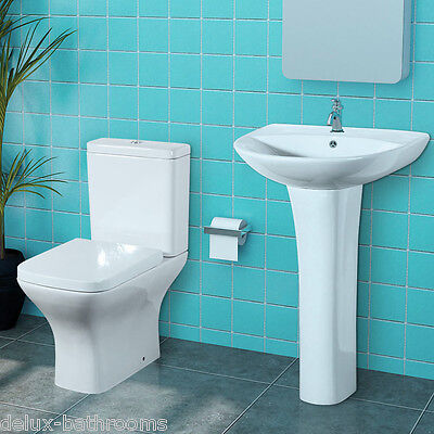 Designer Basin and Toilet Set with Soft Close Seat Option 25 Year Guarantee