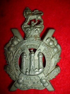The King's Own Scottish Borderers Victorian Crown Cap Badge - Scottish