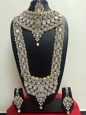 New Bollywood Indian Bridal Necklace Earring Gold Fashion Jewellery Set