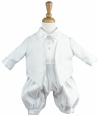 Boys White 2-Piece Romper Jacket Bow Tie Christening Wedding Formal Suit Outfit