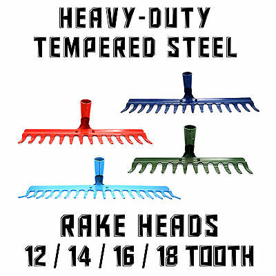 Tempered Steel Metal Rake Head Heavy Duty Replacement ❀ Lawn Leaves Garden ❀ EU