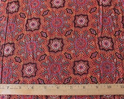 French Antique Hand Blocked c1860-1870 Cotton Turkey Red Quilting Fabric~Study