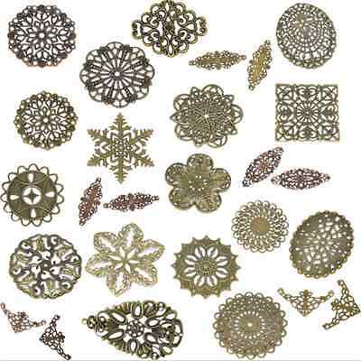 New 50PCS Home DIY Alloy Copper Deco Filigree Flower Wraps Jewelry  Connectors@1