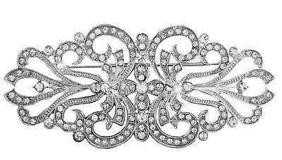 Vintage Style Bridal Wedding Bouquet Shiny Diamante Brooch Pin Hair BR338
