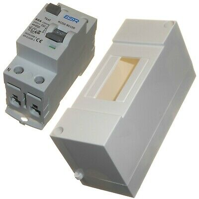 100mA 63A 80A RCD trip safety switch in enclosure double pole 63 or 80 amp New