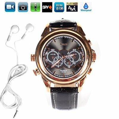 HD PU Leather Spy Hidden Camera Fashion Watch mini Pinhole Video Audio Recorder