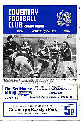1974 - Coventry v Rosslyn Park, Knock-Out Cup Semi-Final Match Programme