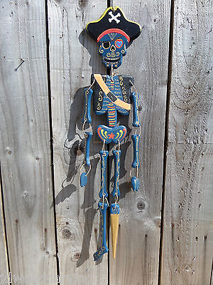 Hand Carved Made Wooden Wood Sugar Skull Candy Pirate Skeleton Wind Chime Mobile