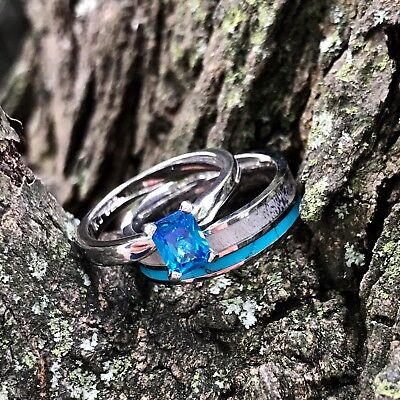 2pc Deer Antler Ring Turquoise And Sapphire Wedding Rings Womens