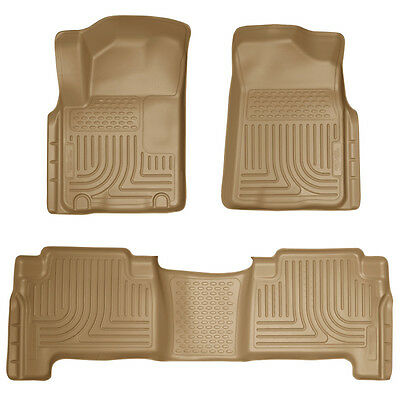 For 2014 2015 Infiniti QX80 Husky WeatherBeater Front & 2nd Row Tan Floor Liners