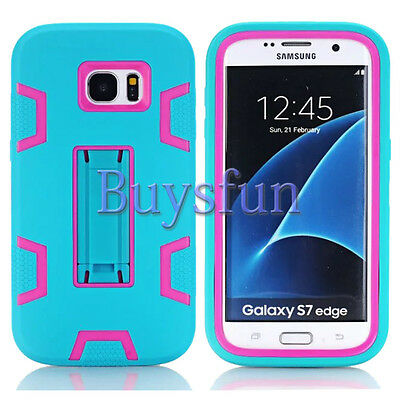 Blue/Hot Pink Shockproof Tough Stand Hard Cover Case For Samsung Galaxy S7 Edge