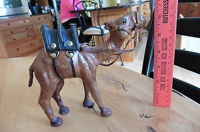 """Vintage Handmade Leather Wrapped Camel Figure Statue with saddle apx 6.5"""" x 7"""""""