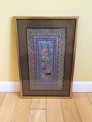 Vintage Asian Chinese Japanese Silk Embroidery Tapestry Art Matted Panel >13x20