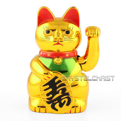 """Golden Chinese Fortune Wealth Lucky Money Waving Cat Feng Shui Decoration 5"""""""