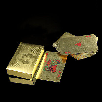 24K Gold Foil Plated 52 Game Playing Cards Poker Deck Set Collection