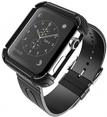 Apple Watch Case & Strap Band 42mm Protective Bumper Sport Deluxe Fosmon BLACK