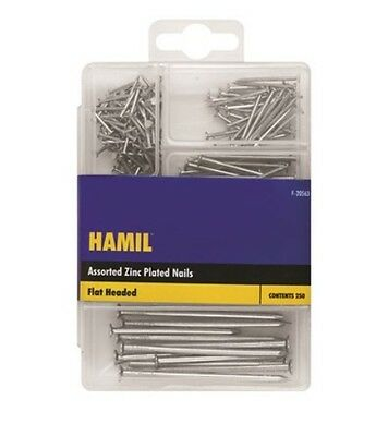 250 Pack Assorted Size Zinc Plated Steel Flat Headed Building Home Work Nails