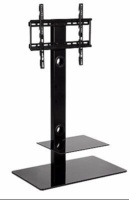 Cantilever Black Glass TV Stand with bracket 30 inch to 50 inch LCD LED tv