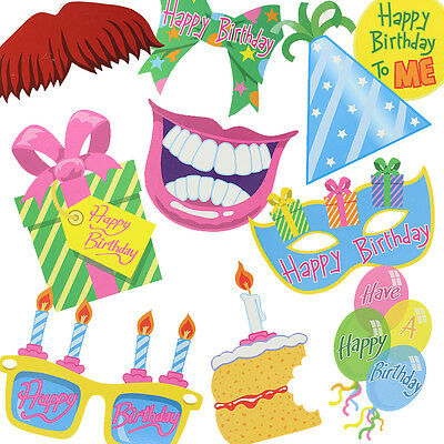 Birthday Party Pack of 10 Fun Photo Props Selfie Photo Booth Accessories