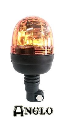 NEW Rotating Flashing Amber Beacon Flexible DIN Pole Mount Tractor Warning Light