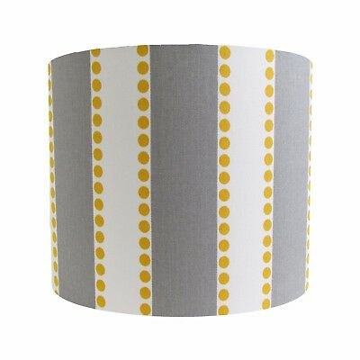 Lampshade Light Dove Grey Mustard Yellow White Stripes Modern Contemporary