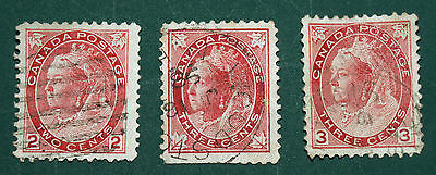 3 Victorian Canadian Stamps, Two Cent and 2 Three Cent 1898-1902