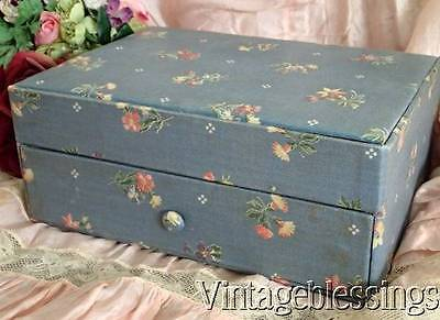 Notions Filled! Rose Fabric Covered Vintage Boudiour Sewing Box with Drawer