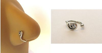 Sterling Silver Fake Faux Spiral Nose Hoop Clip Cuff Looks 18 gauge