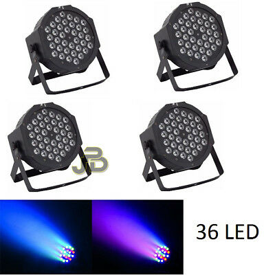 Kit 4 Par Led Faro Rgb 36 Led Lealta Luminosita' Dmx Strobo Wash Programmabile