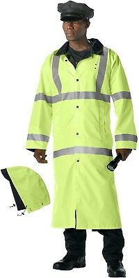 Safety Green To Black Reflective High-Visibility Reversible Rain Parka with Hood