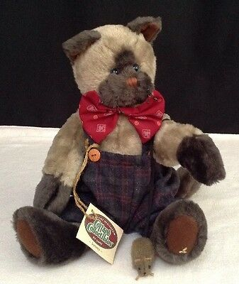 NEW Cottage Collectibles  By GANZ Sammy Plush Cat w/ Mouse Stuffed Plush Animal