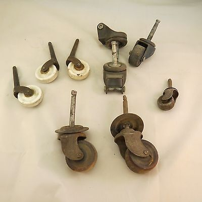 assorted lot of caster wheels - wood - ceramic