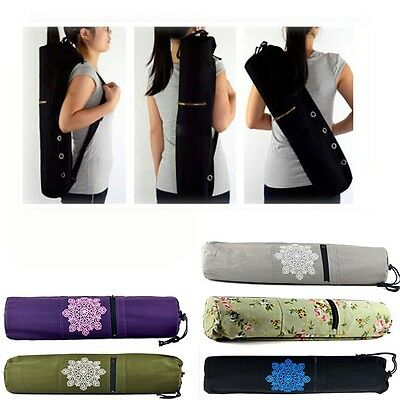 Canvas Yoga Bag Pilates Fitness Carry Storage Mat Carrier Tote Bag Backpap New