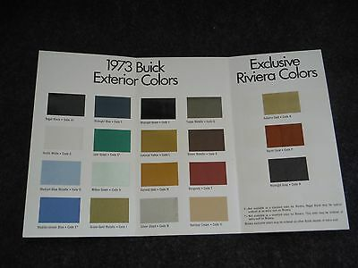 1973 General Motors Buick Exterior Colors Sales Brochure Advertising Brochure