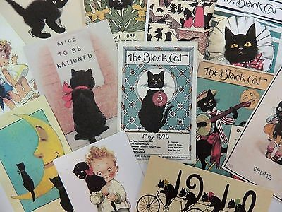 Lot of 12 Adorable VINTAGE BLACK CAT Cats Die Cuts for CRAFTS & CARDMAKING | A14