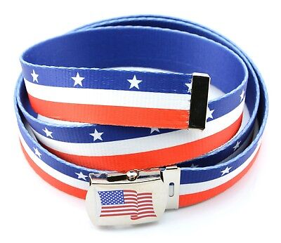 """American USA Flag Polyester Canvas Military Army Belt Unisex Polished Buckle 56"""""""