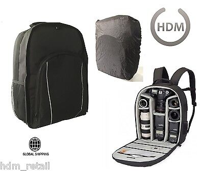 LARGE Black Camera DSLR SLR Backpack Rucksack Bag Case For Nikon Sony Canon