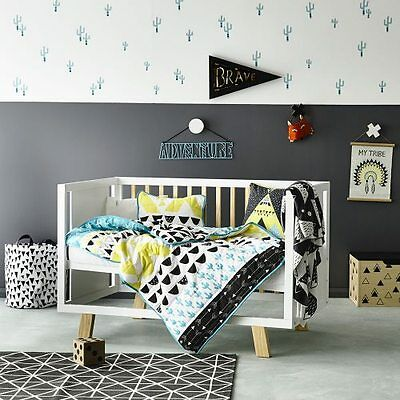 ADAIRS KIDS Baxter COT / Jr Bed QUILTED Quilt Cover Set geometric - reversible!