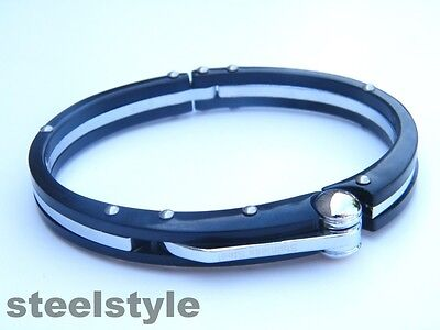 Handcuff  Stainless Steel 316L Wristband Men's Jewellery Bracelet Black Colour