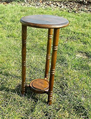 """Lovely Small Carved Wood  Plant Stand Pedestal side table 2 tier 20.27"""""""