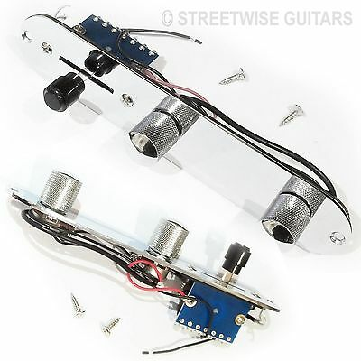 Control Plate Tele Telecaster Guitar Chrome Pre Wired 3 Way Switch 500k Pots 47c