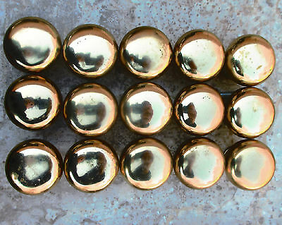 Lot of 15 Matching Solid Brass Drawer Pulls, Knobs Round 1.25 Inch Diameter
