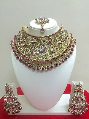 New Indian Bollywood Necklace Earrings Gold Bridal Fashion Costume Jewellery Set