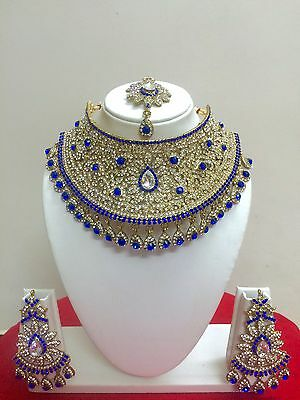 Indian Bollywood Necklace Earrings New Gold Bridal Fashion Costume Jewellery Set