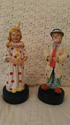 Lot of 11 Clown Figurines, Including 2 Banks and 2 Musical Pieces