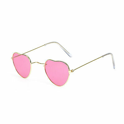 Novelty Pink Heart Shaped Hippie Festival Fancy Dress Party Glasses