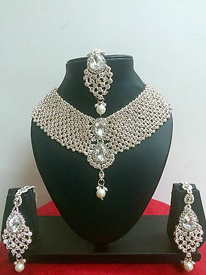 Indian Bollywood Bridal Fashion Necklace Earrings Gold Costume Jewellery Set